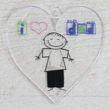 Printed 9.5cm Heart cut from 3mm Acrylic Dad Daddy Fathers Day Gift - Sketch